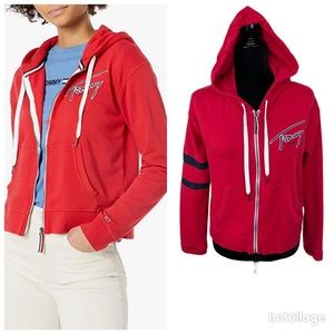 NWT Tommy Jeans Red Signature Zip Hoodie Size M